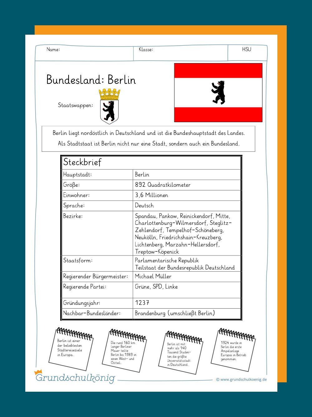 Arbeitsblatter Mit Ubungen Und Aufgaben Sowie Steckbriefe Fur Referate Plakate Portfolios Und Andere Prasentationen Zu Grundschule Berlin Grundschule Berlin