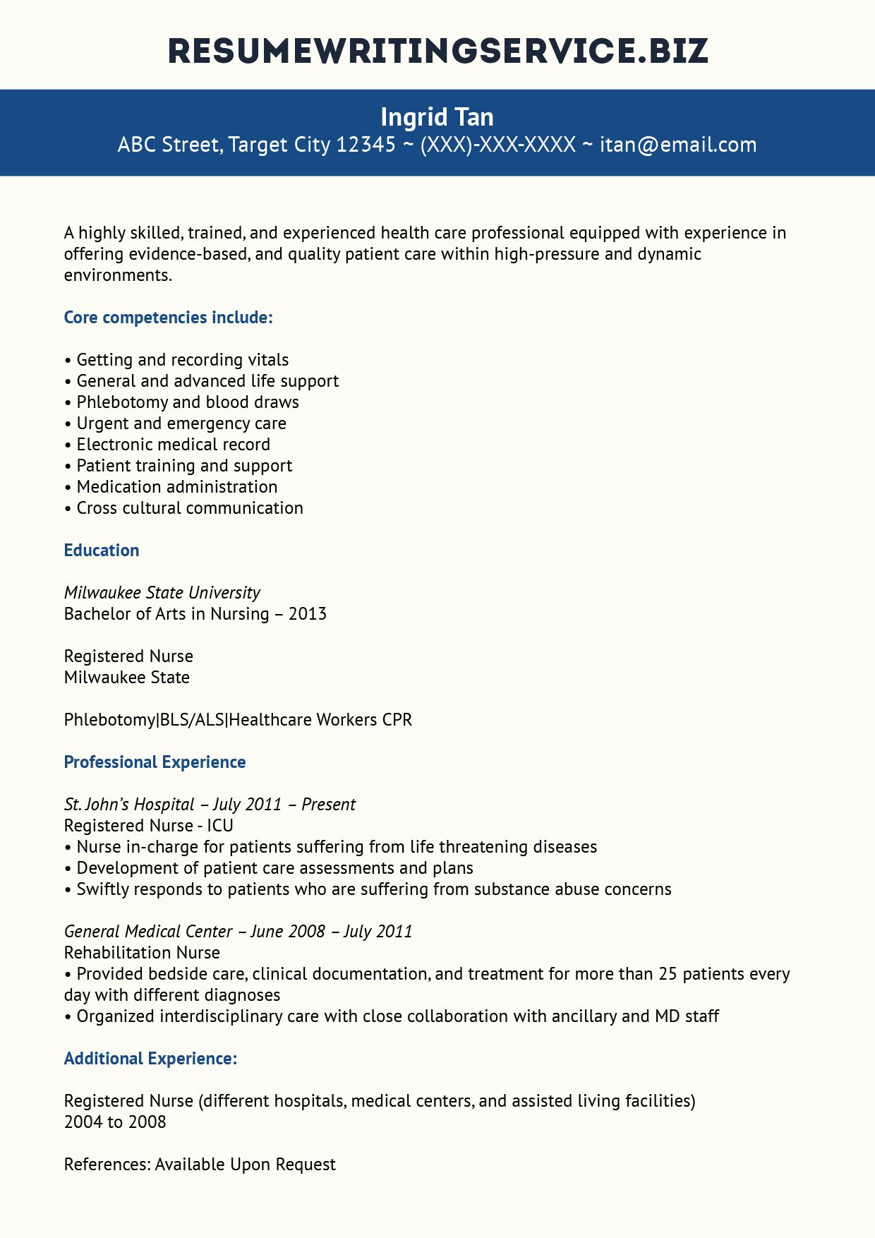 Experienced Nurse Resume Sample Nursing resume, Resume