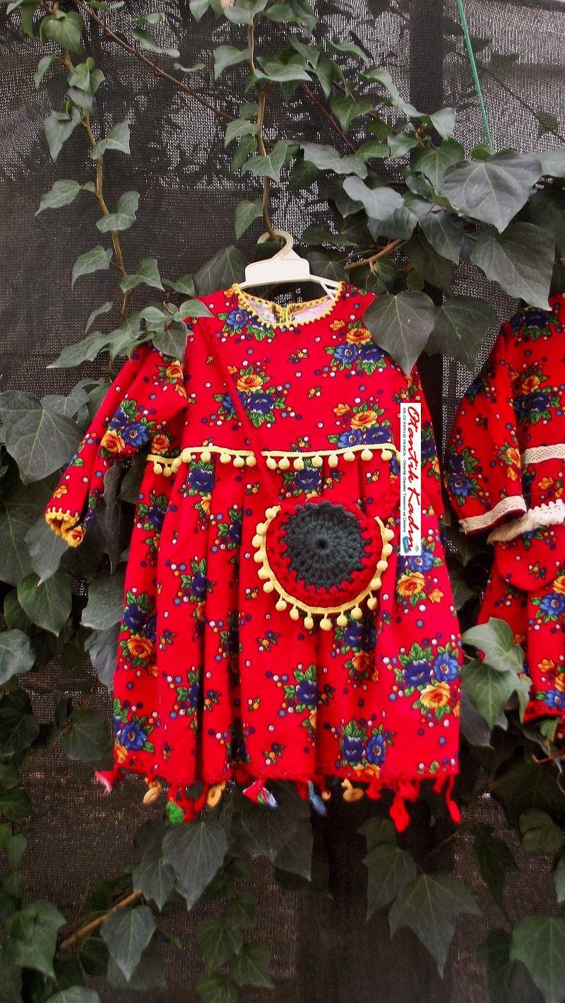 Kırmızı, Çiçekli Çocuk Pazen Elbise- OC021217   Otantik Kadın, Otantik Giysiler, Elbiseler,Bohem giyim, Etnik Giysiler, Kıyafetler, Pançolar, kışlık Şalvarlar, Şalvarlar,Etekler, Çantalar,şapka,Takılar