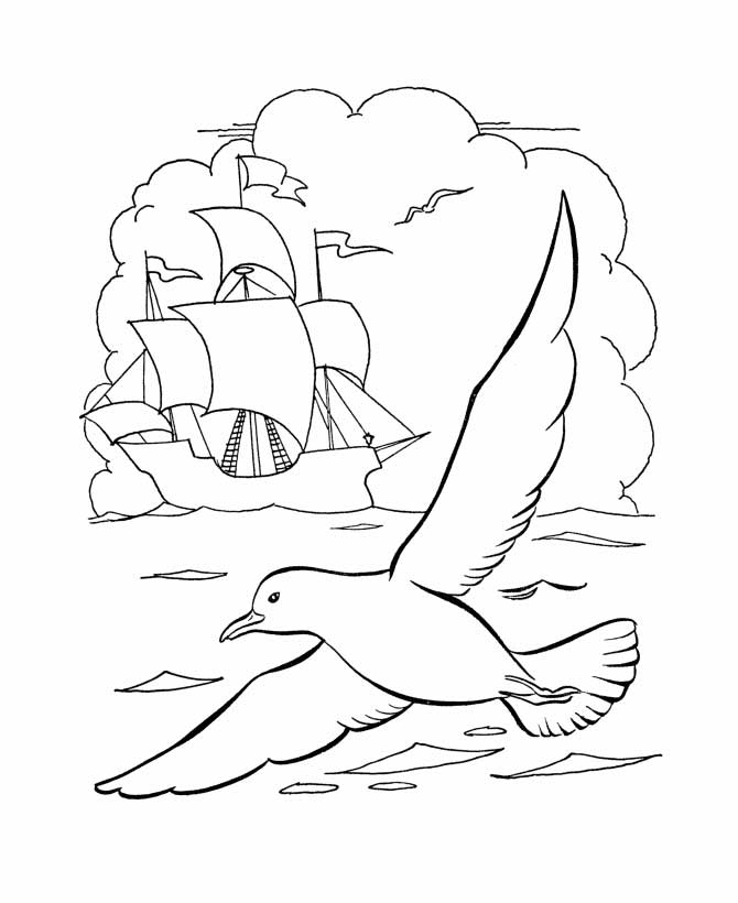 Columbus Ship With Seagul On Columbus Day Coloring Page Coloring Sun In 2020 Coloring Pages Columbus Ship Easy Drawings