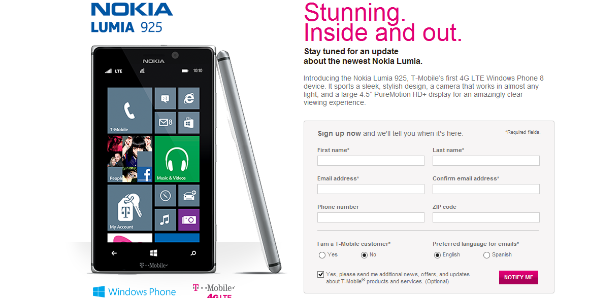 Nokia Lumia 925 coming soon to T-Mobile USA stores   According to a recent news will soon be available on the Nokia Lumia 925 smartphone for T-Mobile dealer distribution of the U.S..