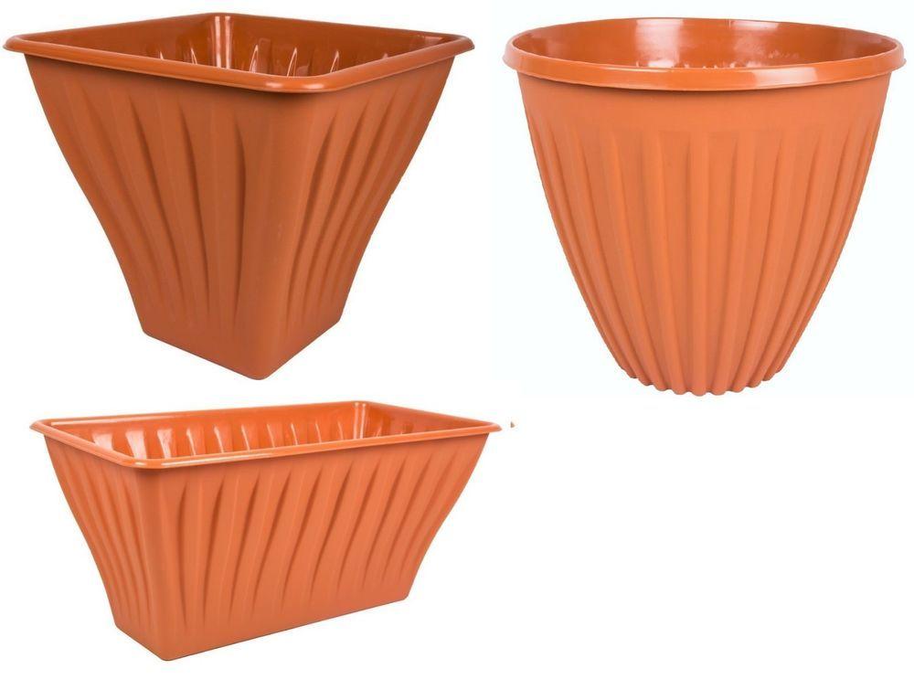 Terracotta Style Large Ribbed Planter Plant Pots Troughs Plastic Ram