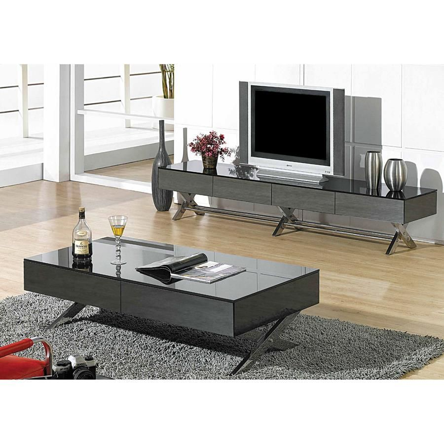 The Torino Tv Stand Has A Sleek Low Profile Design With Chrome X