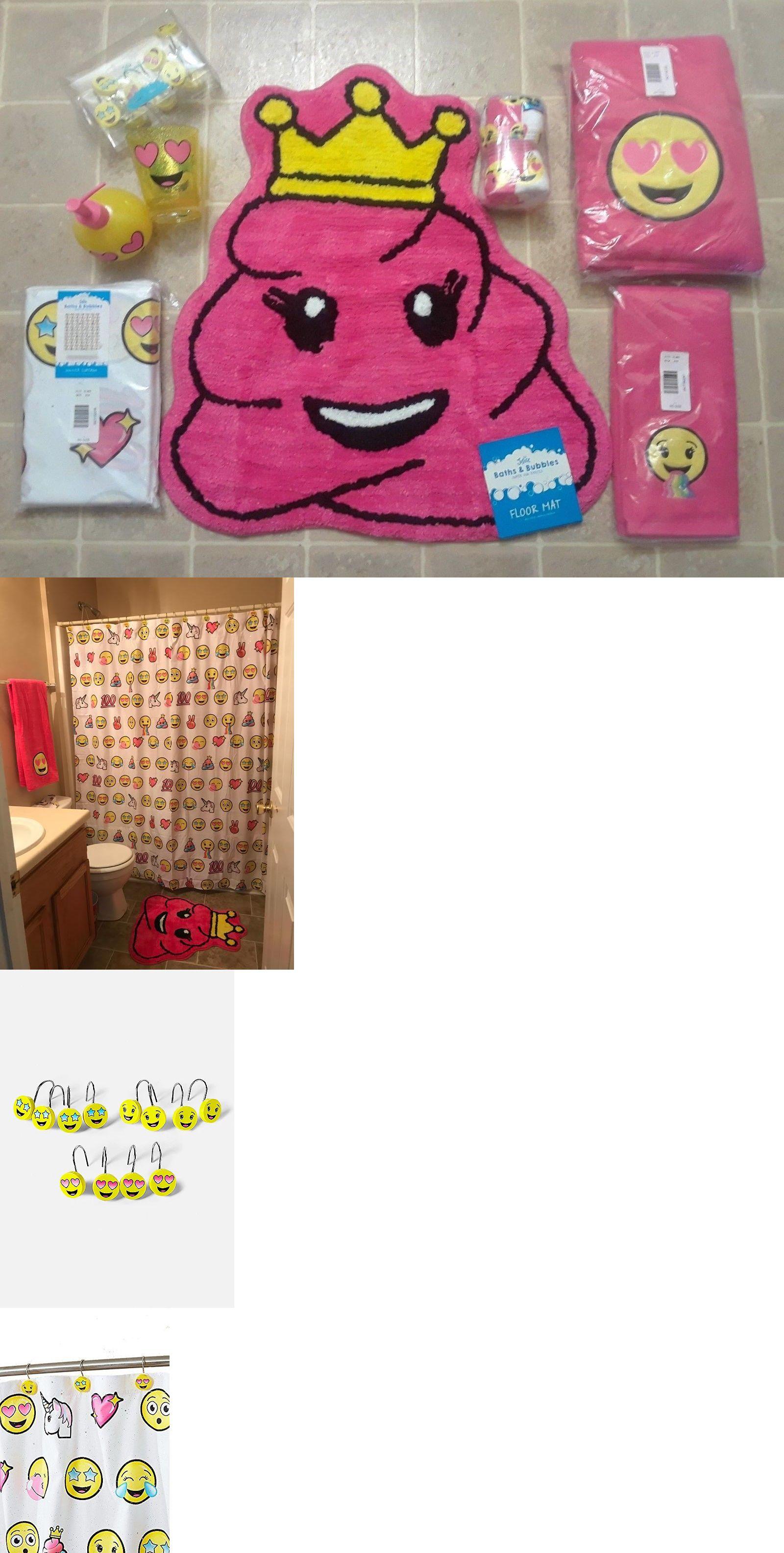 Bath 115624 Justice Emoji Bathroom Set Shower Curtain Hooks Bath