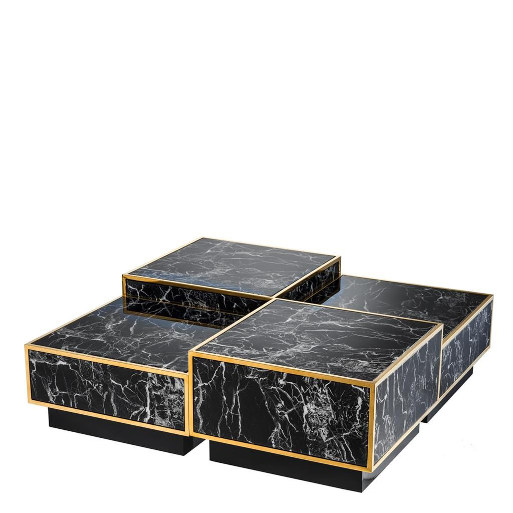Eichholtz Black Marble + Gold Trim Bi Level Modular Coffee Table