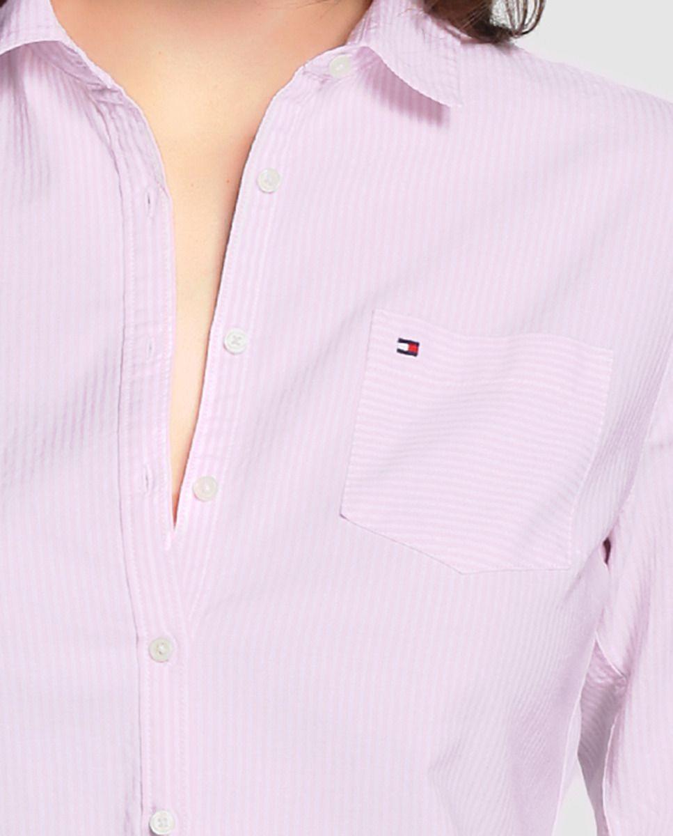 1220a07c265 Camisa de mujer Tommy Hilfiger con rayas en rosa y bolsillo