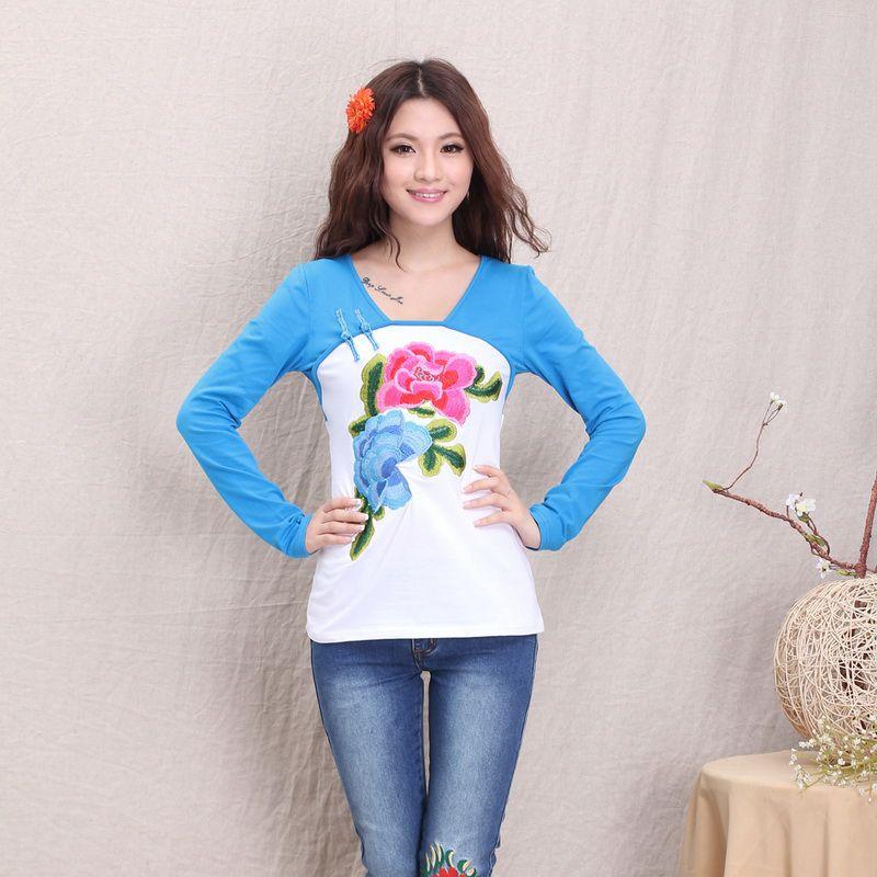 Impressive Peony Flower Embroidery Mandarin Style Shirt - White - Chinese Shirts & Blouses - Women