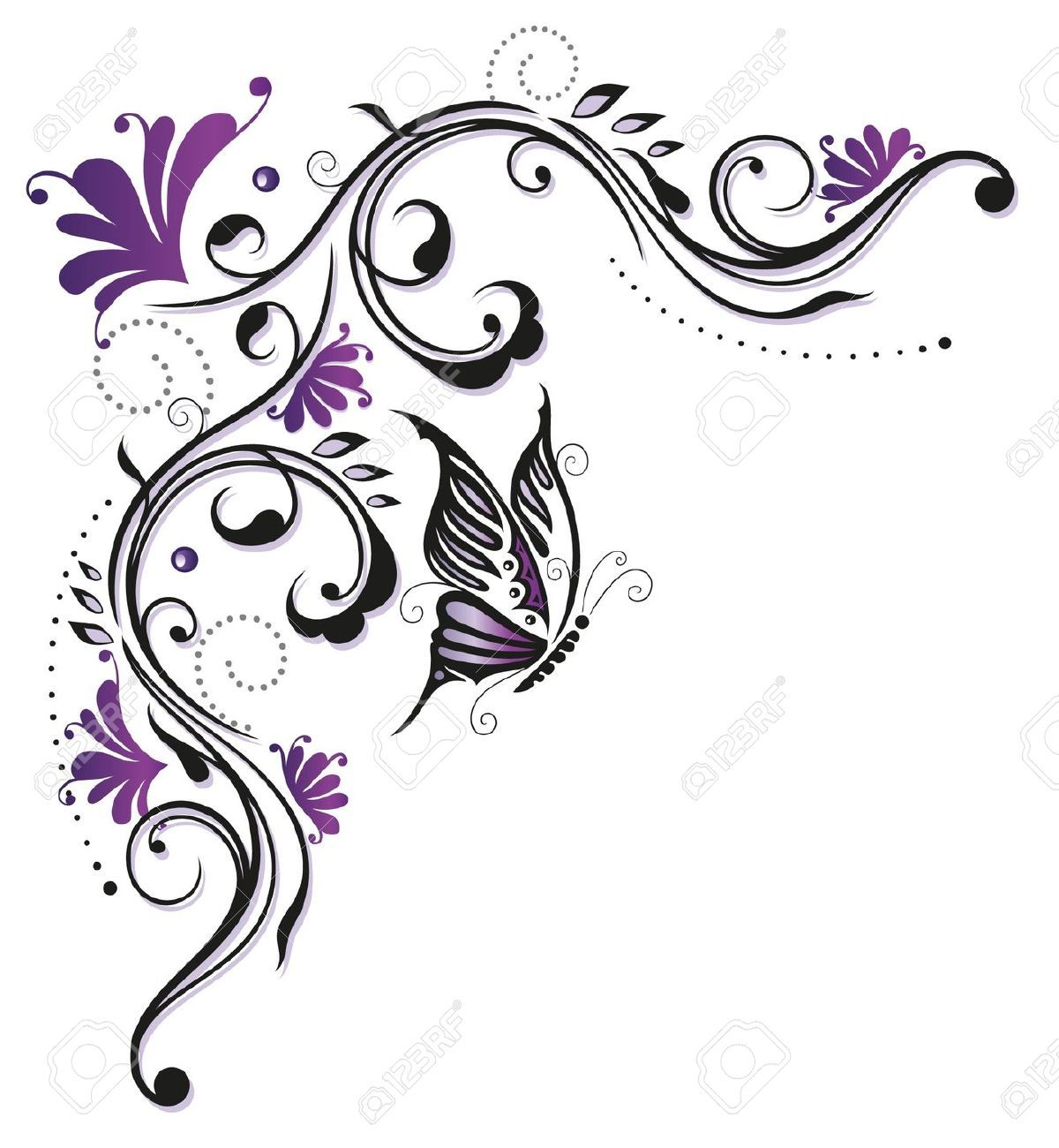 flowers butterfly purple violet royalty free cliparts