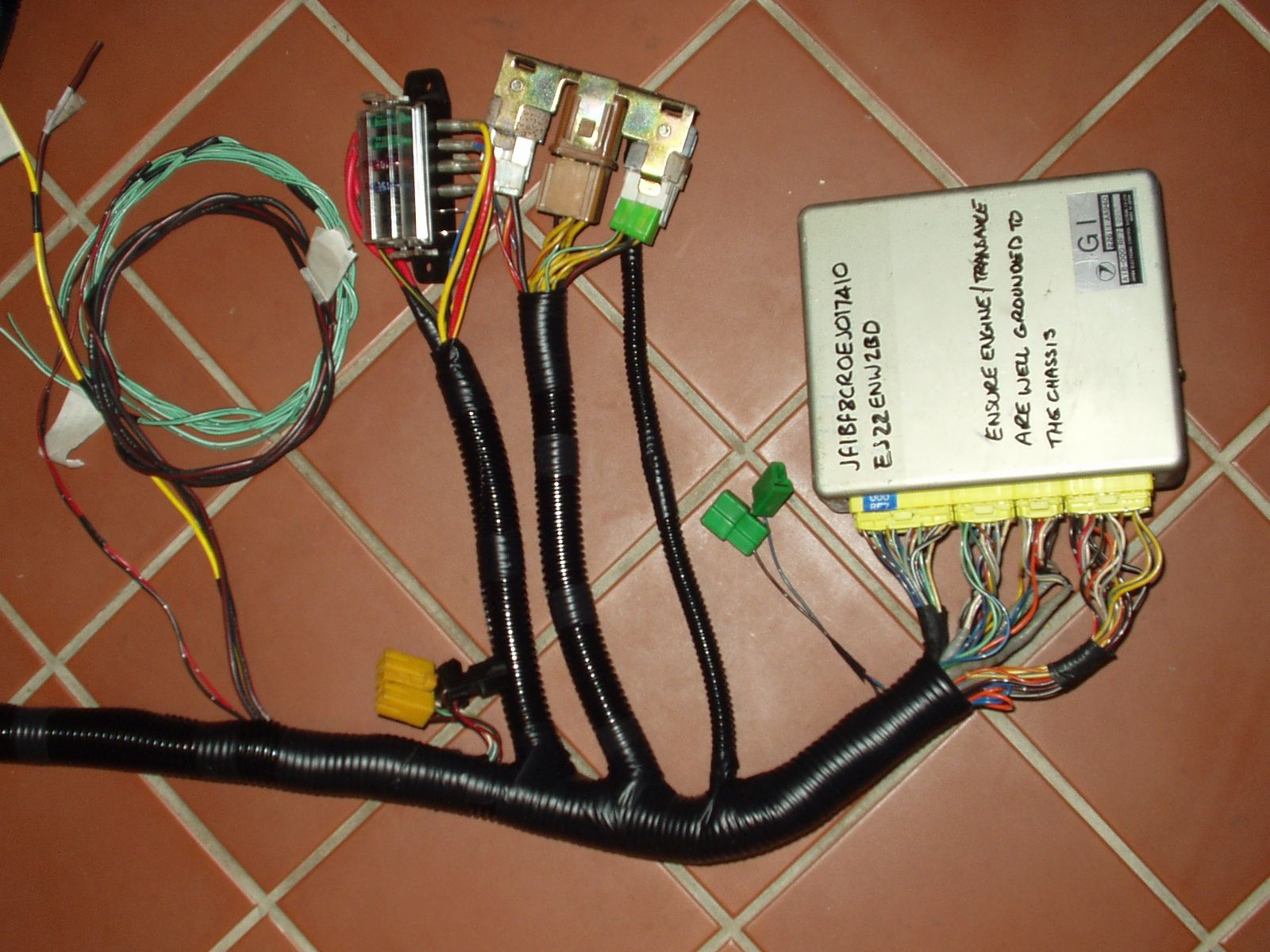 A Subaru engine wiring harness after RJES have done their conversion…