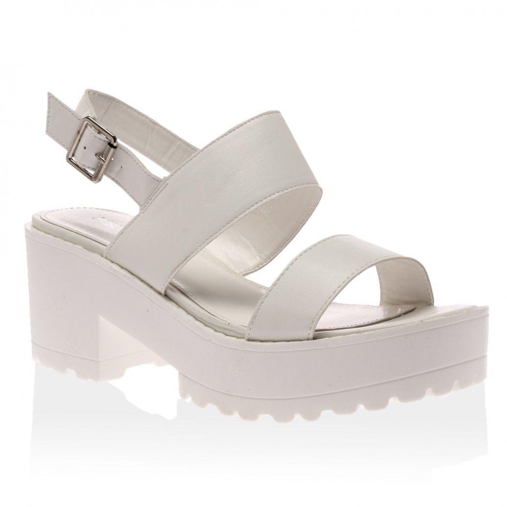 2c41029dcb7353 Frances White Strappy Platform Sandals