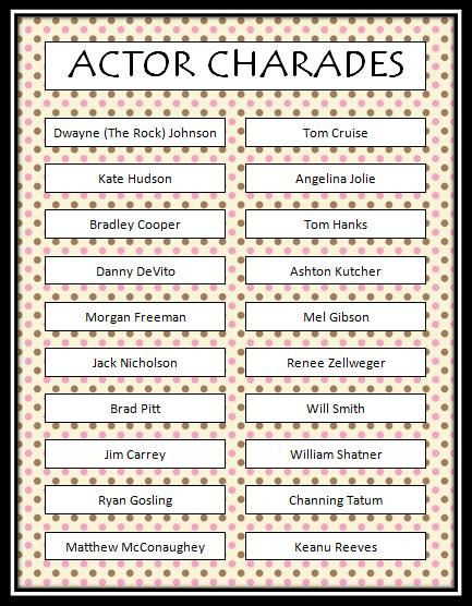 Actor Charades - Free Printable Game