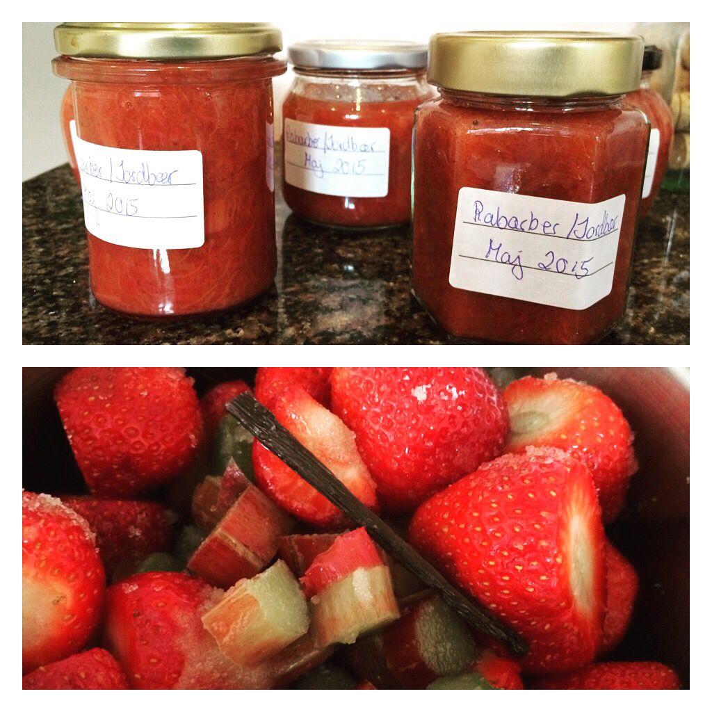 Så er der marmelade til et stykke tid #rabarber #jordbær #polynesiskvanilje #blomsterberg #rørsukker