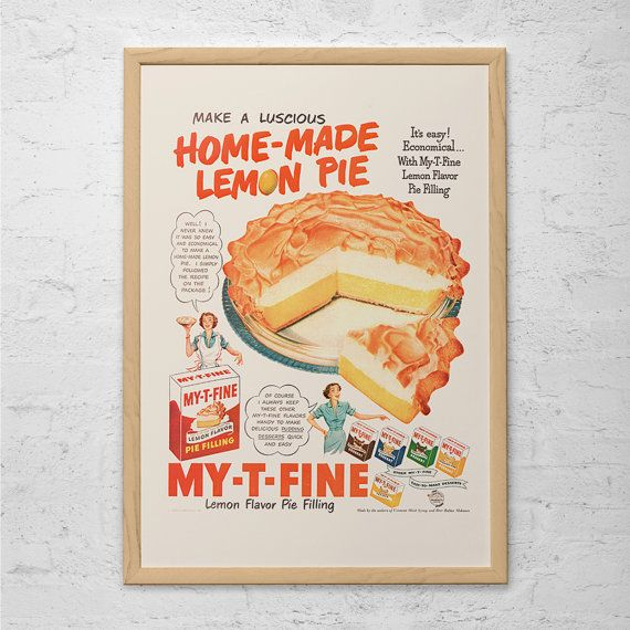 Retro Pie Ad Vintage Cooking Ad Mid Century Poster Classic Etsy Vintage Cooking Kitchen Prints Kitchen Posters