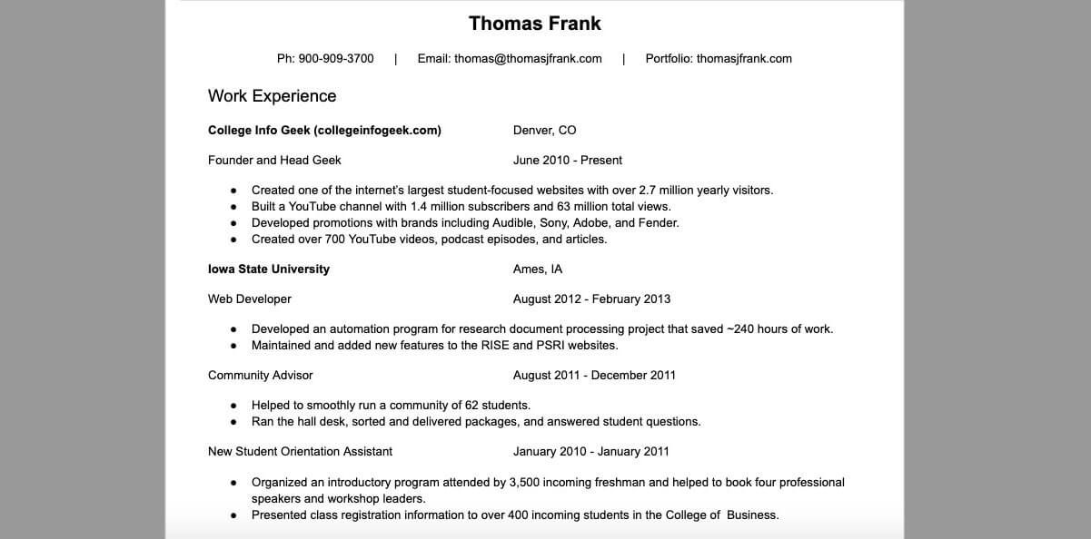 Youtube Student Resume In 2020 Student Resume Resume Student