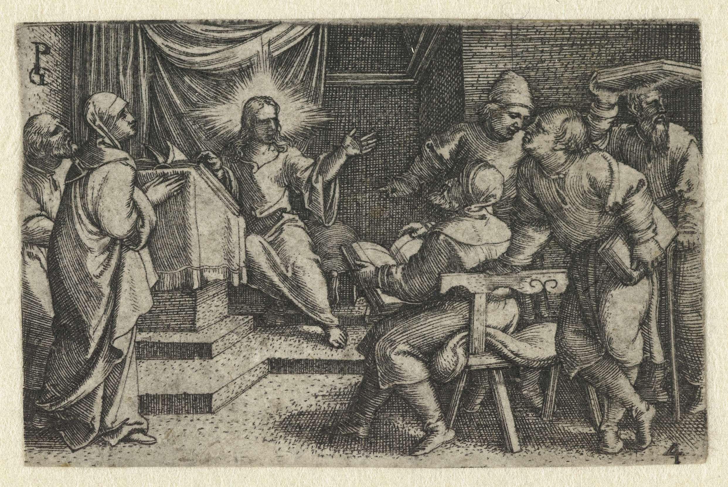 Georg Pencz | Christus onderwijst schriftgeleerden in de tempel, Georg Pencz, 1534 - 1535 |