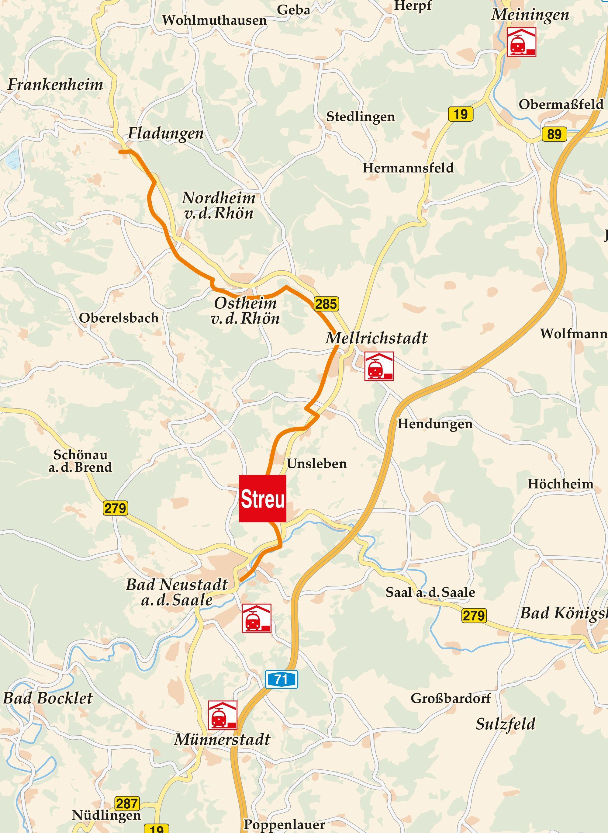Saale Radweg Karte.Streutal Radweg Fladungen Karte Radfahren In Der Rhon