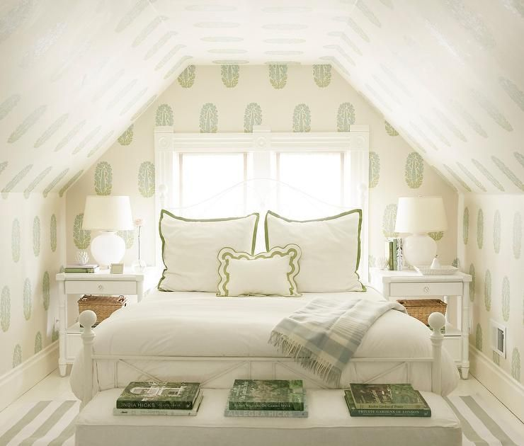 Charming White And Green Attic Bedroom Is Furnished With A White 4 Poster Bed Accented With White And Green Bord Attic Renovation Attic Bedroom Attic Apartment