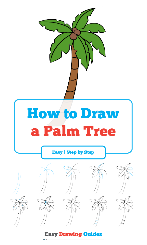 How To Draw A Palm Tree Really Easy Drawing Tutorial Palm Tree Drawing Trees Drawing Tutorial Palm Tree Drawing Easy