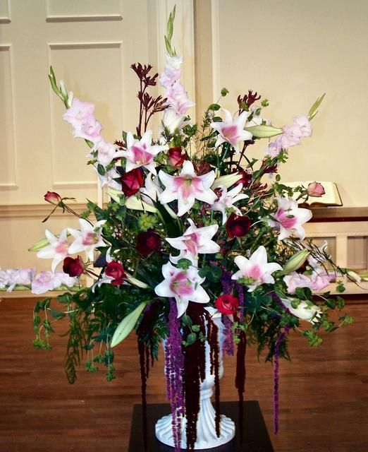 Large Wedding Altar Arrangements: Large Arrangement Featuring Stargazer Lilies, Gladiolus
