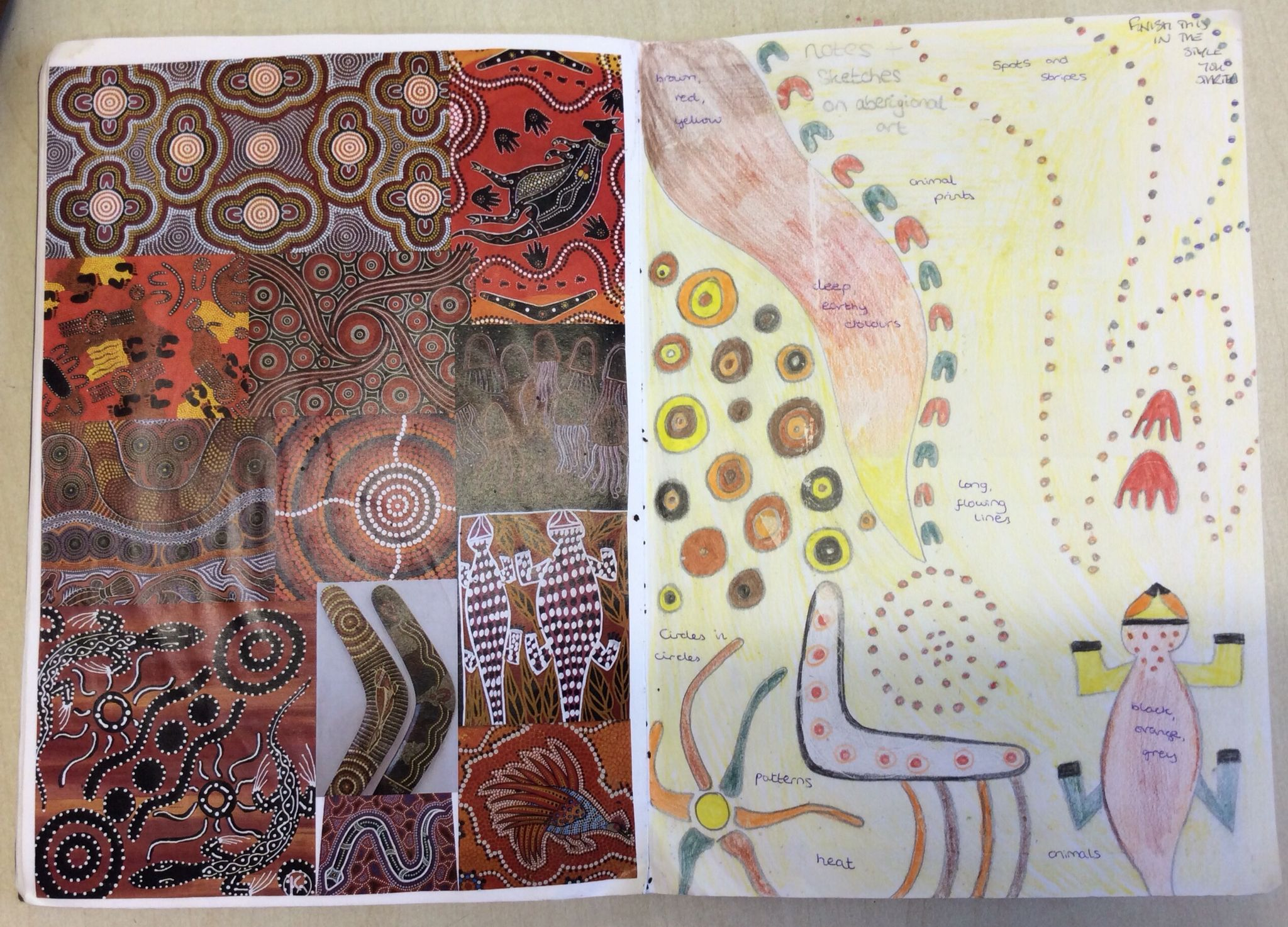 Year 8 Homework. Aboriginal research to collect patterns.