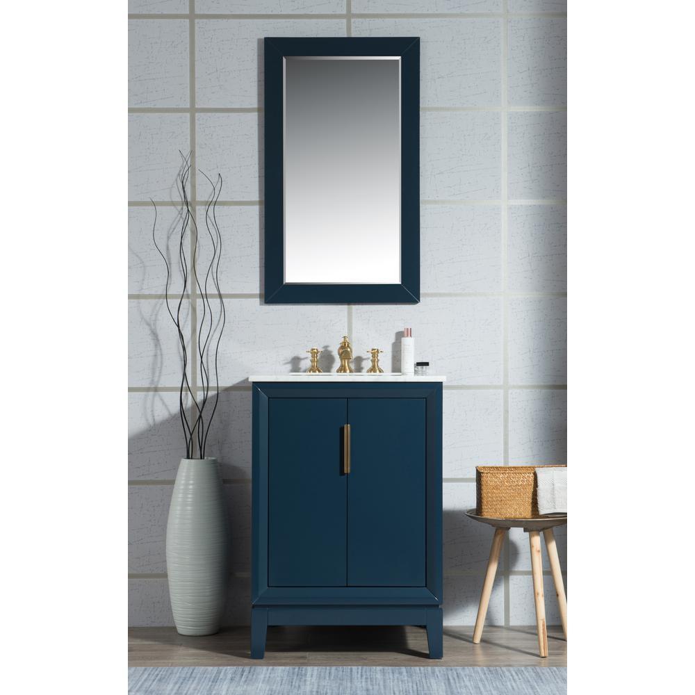 Water Creation 24 In Single Sink Bath Vanity In Carrara White Marble Vanity Top In Monarch Blue W Mirror And Lavatory Faucet Bathroom Bath Vanities Rustic Bathroom Vanities