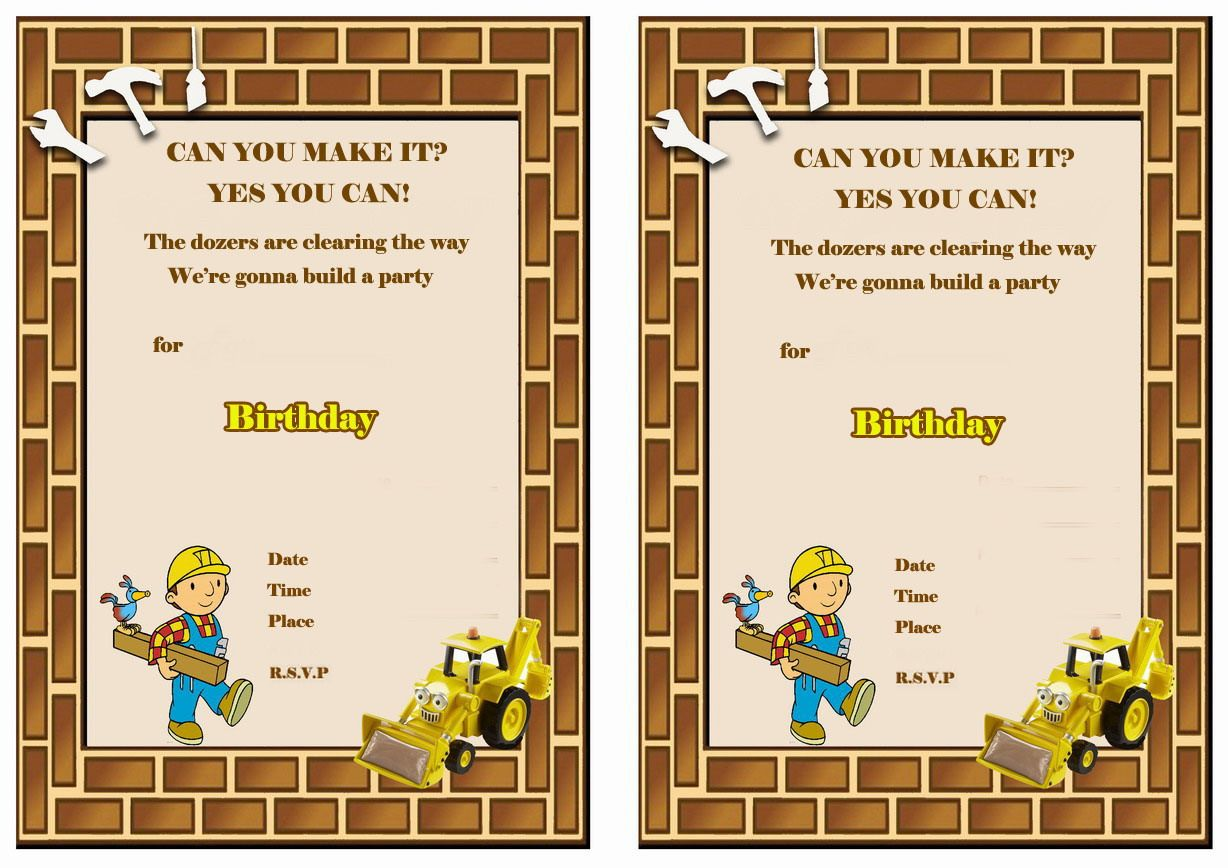 Bob the Builder FREE Printable Birthday Party Invitations | Birthday ...