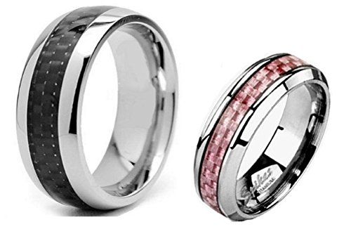 2 Pc His Hers Anium Carbon Fiber Wedding Band Ring Set Sizes 6 Thru 13
