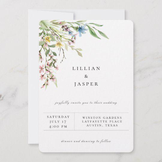 Elegant Wildflower Bouquet Wedding Invitation Zazzle Com In 2020 Wildflower Wedding Bouquet Modern Wedding Invitations Cheap Wedding Invitations