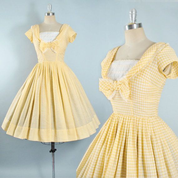 Vintage 50s GINGHAM Dress / 1950s Yellow White Cotton Sundress Plaid LACE RIBBON Bow Bodice Full Swing Skirt Garden Party Pinup M Medium