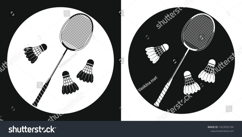 Badminton Racquet Icon Silhouette Tennis Racquet And Three Badminton Shuttlecock On A Black And White Back Tennis Racquet Badminton Black And White Background