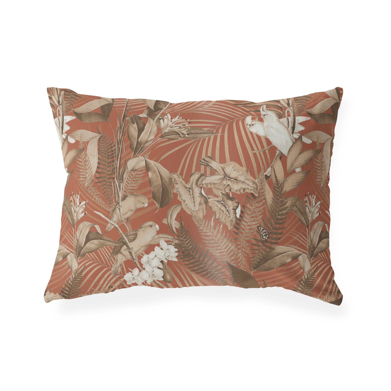 TROPICAL JUNGLE DARK CORAL Lumbar Pillow By Marina Gutierrez – 12in x 16in