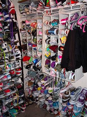 f4887aac9763 In case I EVER get this many shoes (record of 773 converse sneakers storage)