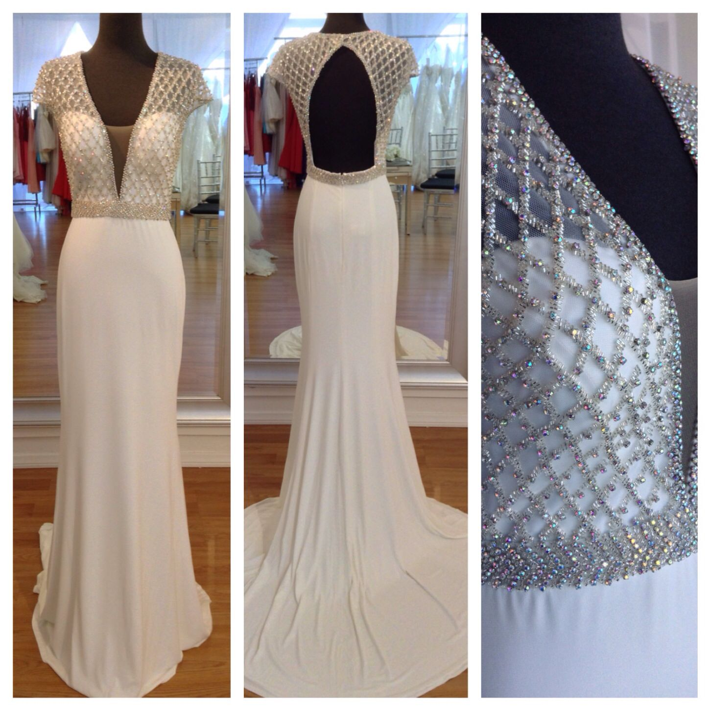 Jovani available in off white black navy red and hunter