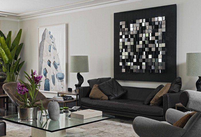 Pflanzen Wohnzimmer ~ Sofa stoff wohnzimmer wanddeko bumendeko pflanzen wohnen