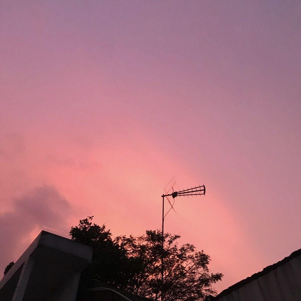 Sky Pinkish Purpleish Aesthetic Senja Beautiful Pemandangan Matahari Terbenam Langit
