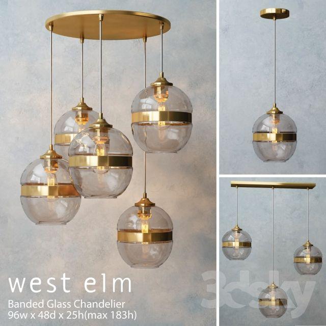 3d Models Ceiling Light West Elm Banded Glass Chandelier