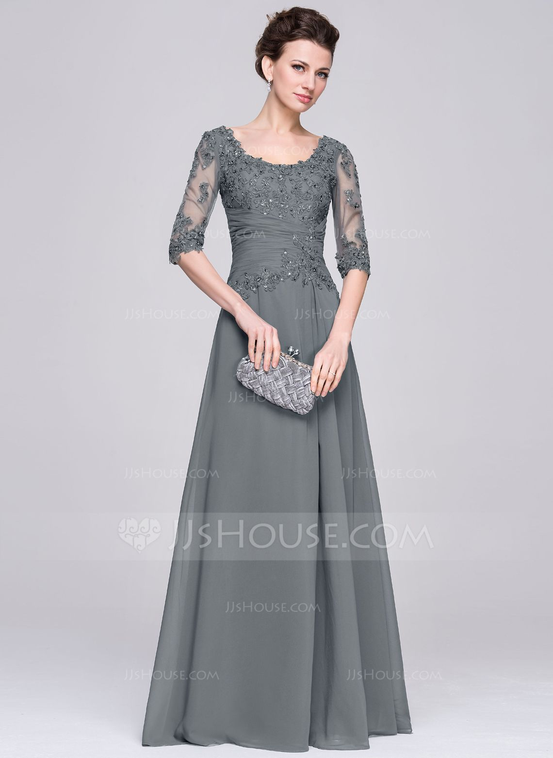 46cb8febc9f A-Line Princess Scoop Neck Floor-Length Ruffle Beading Appliques Lace  Sequins Zipper Up Sleeves 1 2 Sleeves No 2015 Other Colors Spring Summer  Fall Winter ...