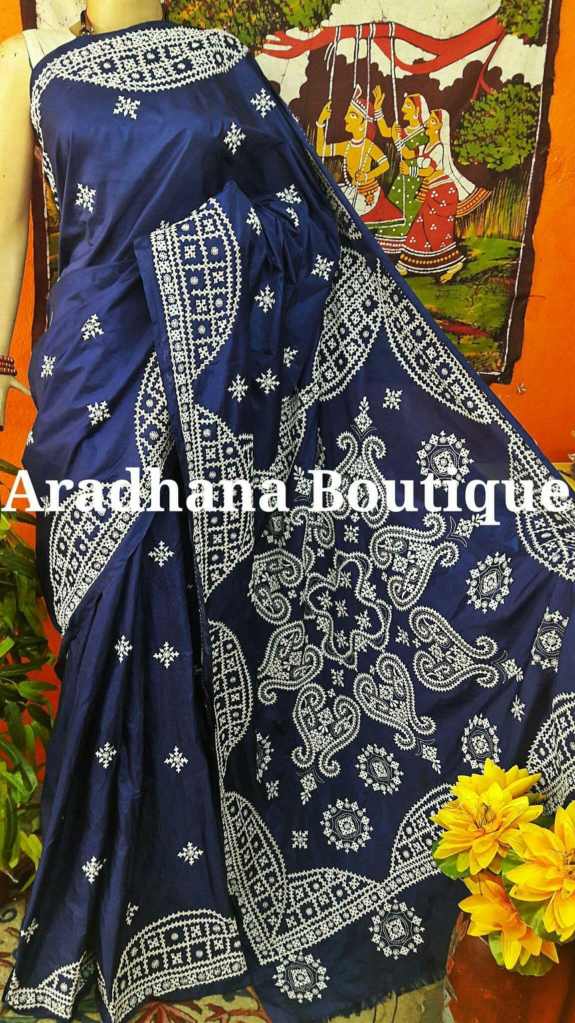Sindhi Stitch Saree Drapes Embroidery Embroidery Saree Saree