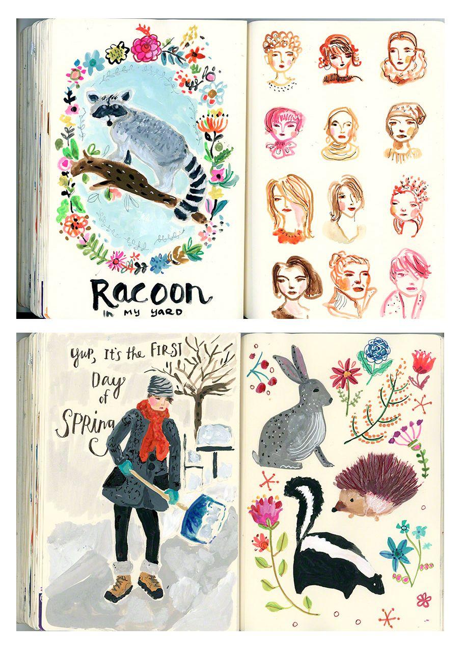 August Wren Sketchbook pages~Image © Jennifer Orkin Lewis (Spring 2015)