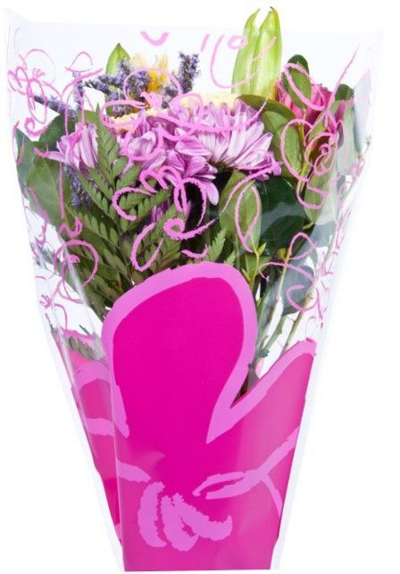 Flower Bouquet Printed Plastic Sleeve Bag 1000 Unit Case 17x17x4