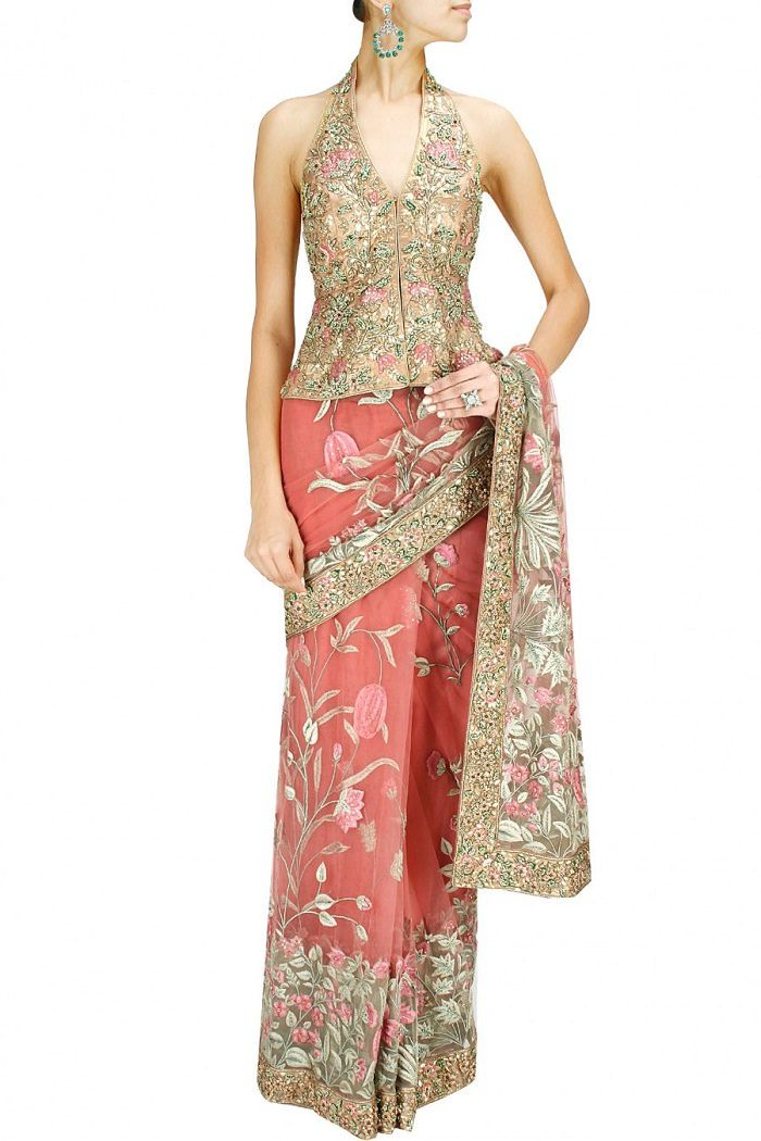 e3b38c0733b180 Pair this Ashima Leena Halter Neck Blouse With Your Saree For an Indo- Western Appeal   Looksgud.in.  SareeBlouse  HalterNeck  Golden  Designer