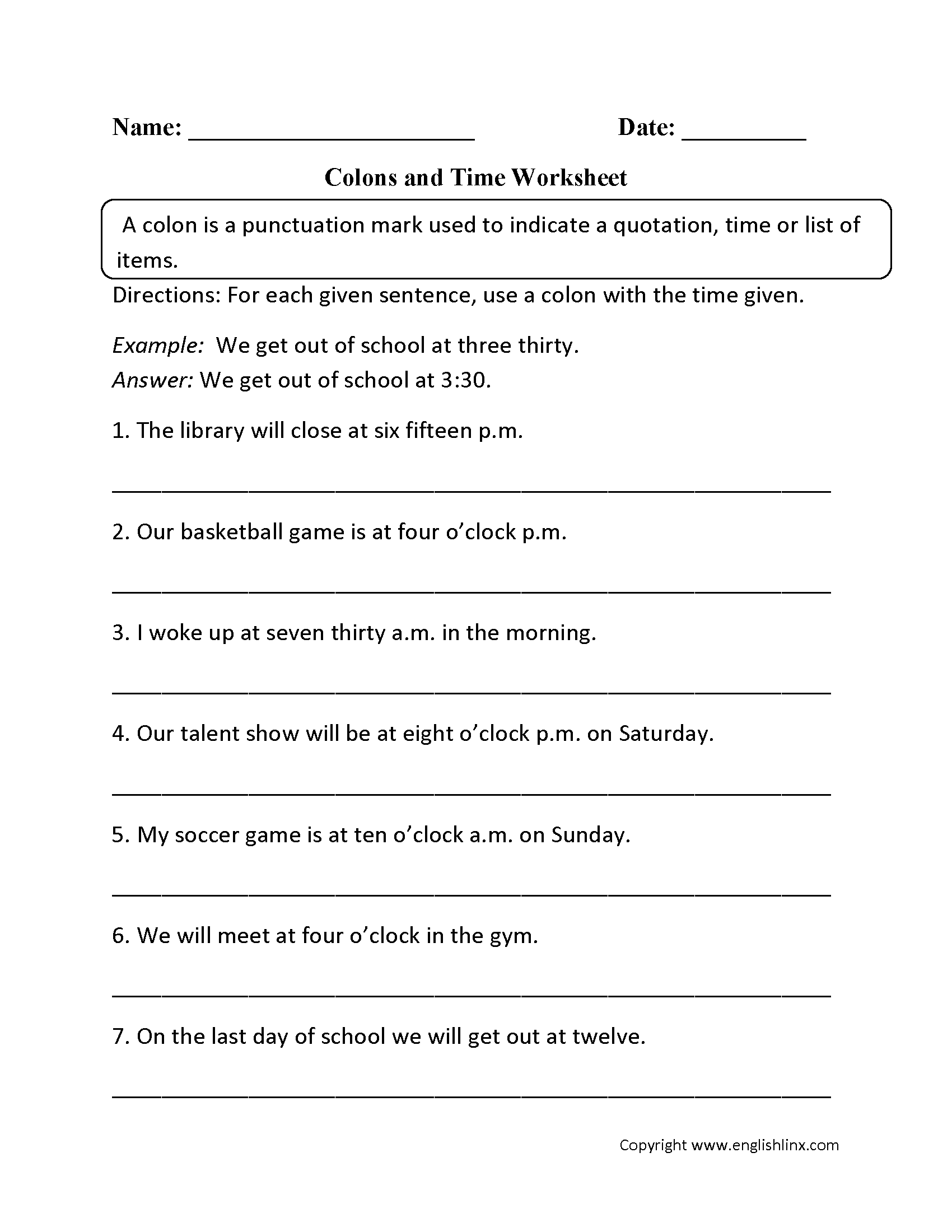 Colon And Time Worksheets