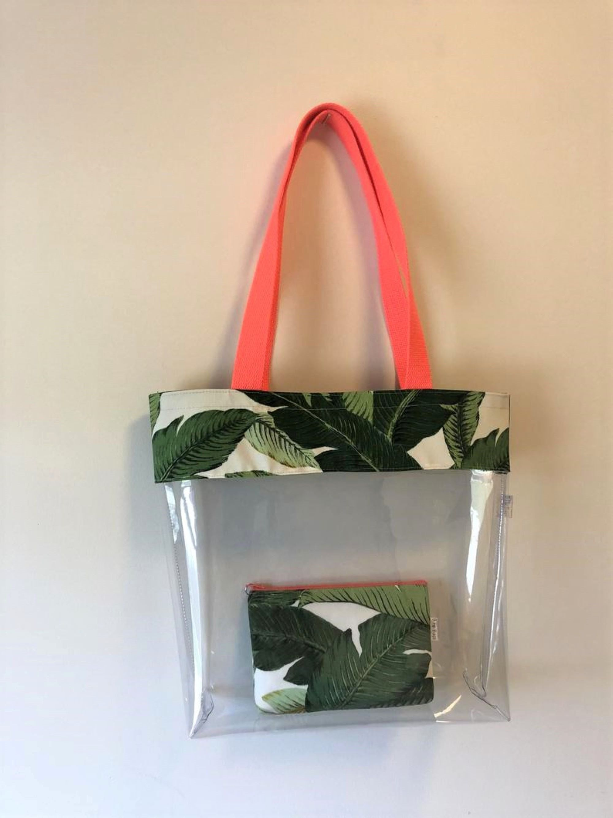 Large Tommy Bahama Leaf Coral Clear Transparent Vinyl Tote Bag Set Waterproof Beach Pool Swim Bag Diaper Bag Set Cosmetic Bag Vacation Bag In 2020 Clear Vinyl Wet Bag Custom Bags