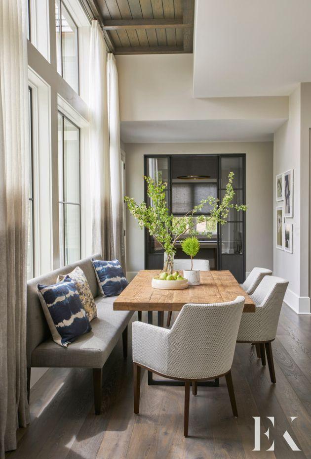 Modern Dining Room With Potted Plants By Elizabeth Krueger Design images