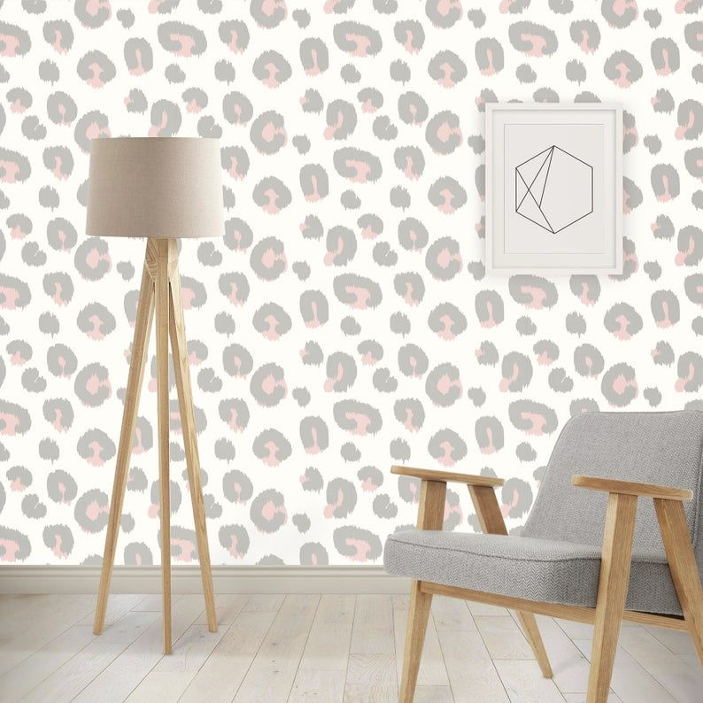 Self Adhesive Wallpaper Animal Print Grey Pink Leopard Etsy Leopard Print Wallpaper Animal Print Bedroom Animal Print Decor