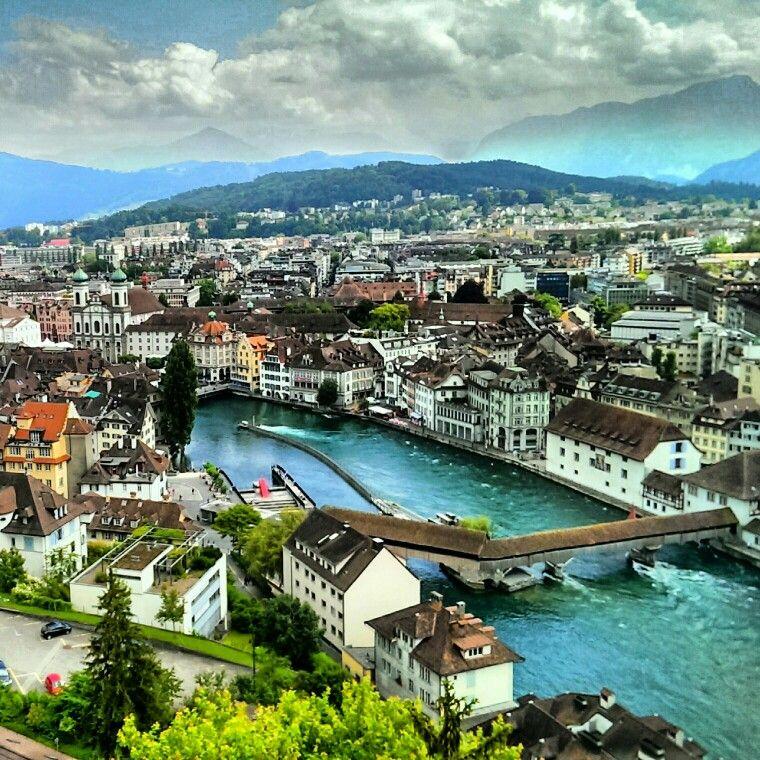 Luzern, Switzerland. The wooden bridge from above Schweiz, L