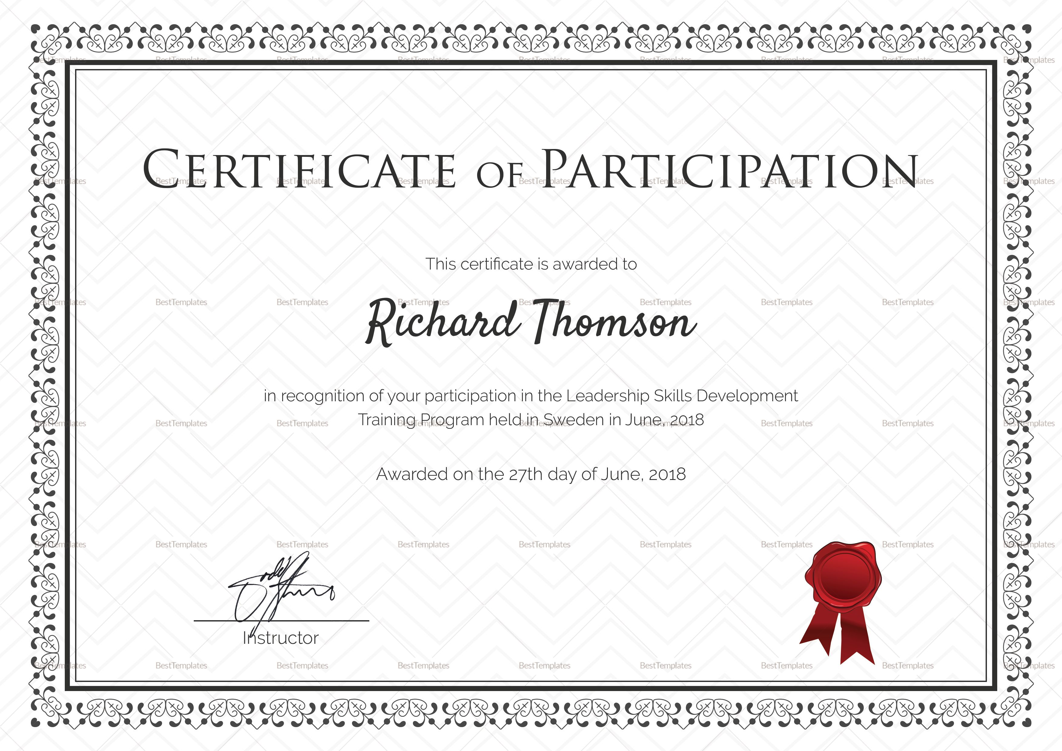 Training Participation Certificate Template Certificate