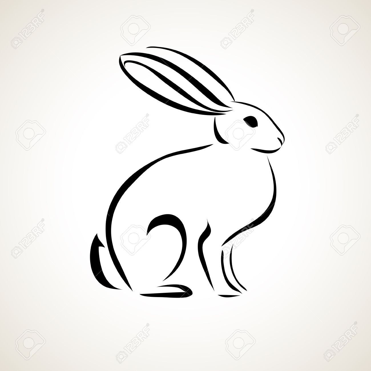 Easter card with rabbit outline in 2020 bunny tattoos