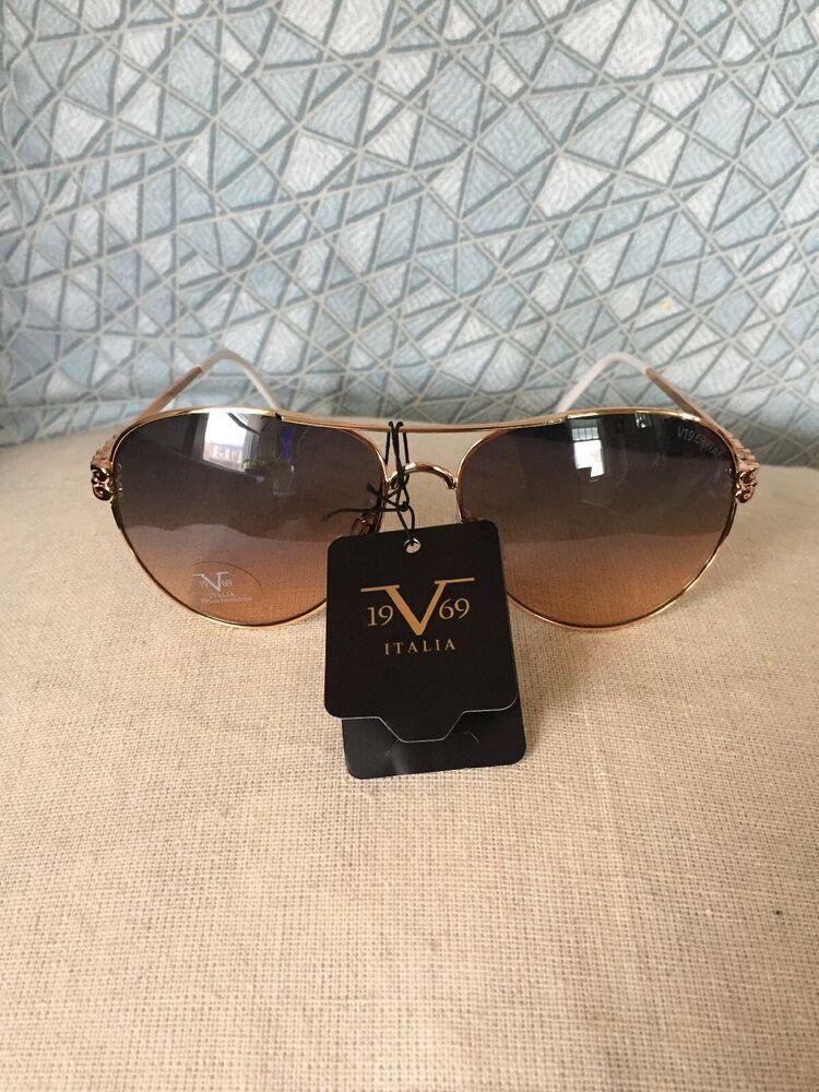 a40dfa30cc94 19V69 Italia Versace 1969 GLD Camila Gold/White Aviator Design Sunglasses  NWT | eBay