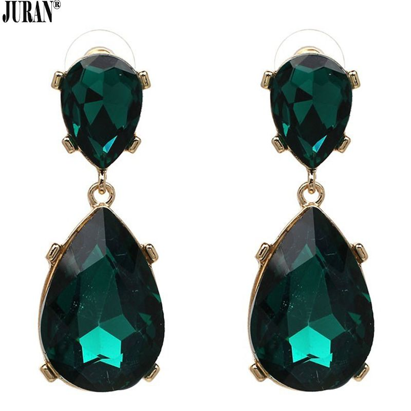 Green emerald looking earrings with crystals FREE SHIPPING!